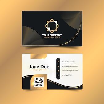 Vorlage für visitenkarten mit goldenem farbverlauf