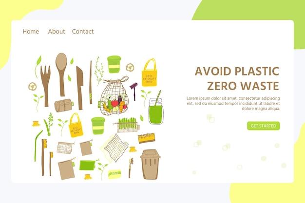 Vorlage für webseite mit zero waste konzept. keine plastikelemente des ökolebens: wiederverwendbare papier-, holz-, stoff- und baumwolltaschen. vektor wird grün, bio-logo oder zeichen. organisches design