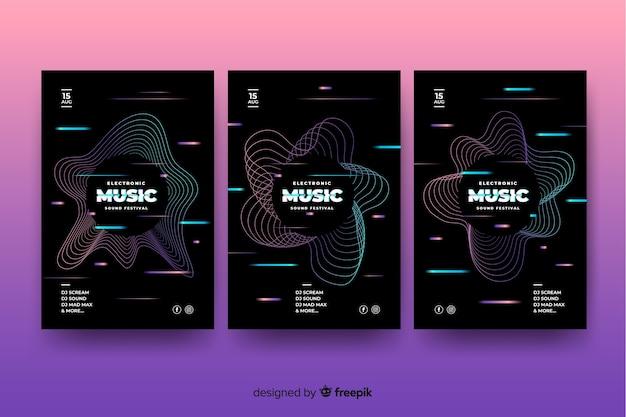 Vorlage glitch-effekt-musikplakat