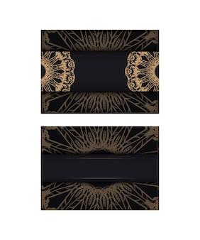 Vorlage glückwunschbroschüre in schwarz mit brauner vintage-verzierung