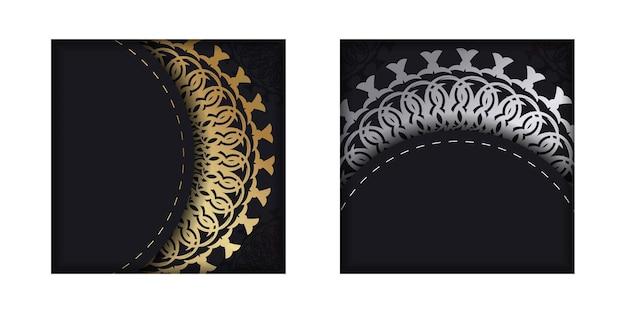 Vorlage glückwunschbroschüre in schwarz mit goldenem vintage-muster