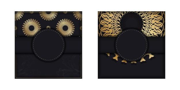 Vorlage glückwunschbroschüre in schwarz mit goldenem vintage-ornament