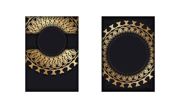 Vorlage glückwunschbroschüre in schwarzer farbe mit goldenem abstraktem ornament