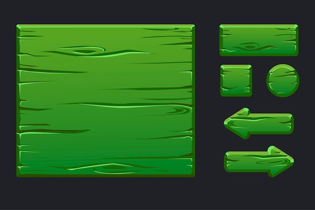 Vorlage grünes holzmenü der grafischen benutzeroberfläche und der schaltflächen