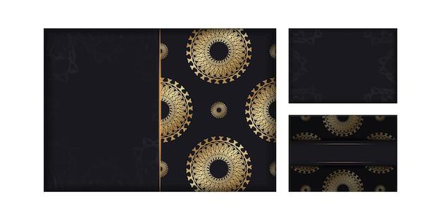 Vorlage gruß broschüre schwarze farbe mit goldenem abstraktem muster