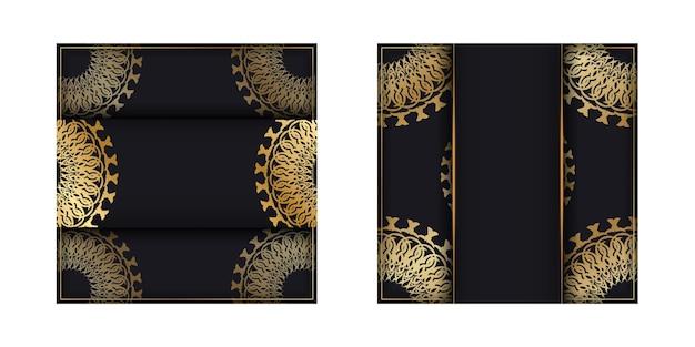 Vorlage gruß-broschüre schwarze farbe mit goldenem mandala-muster