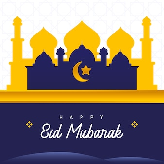 Vorlage happy eid al-fitr mubarak moschee geeignet für social media post