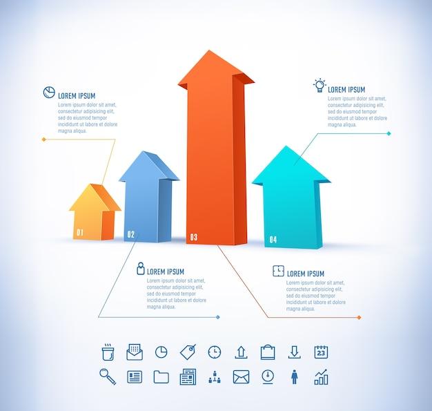 Vorlage im modernen stil. für infografik und präsentation. 3 pfeil