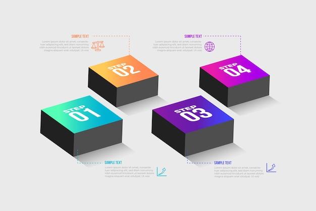 Vorlage infographik schritte farbverlauf