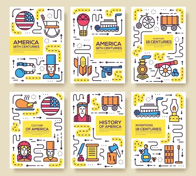Vorlage kartensatz flyear, poster, buch, banner. infografik traditionelle ethnische flache, dünne linie.