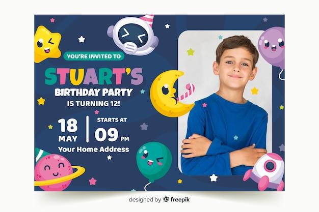 Vorlage kindergeburtstagseinladung mit foto