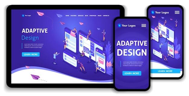 Vorlage landing page isometrisches konzept des webseitendesigns und der entwicklung mobiler websites, adaptives design, anwendungen. einfach zu bearbeiten und anzupassen, anpassungsfähige benutzeroberfläche.