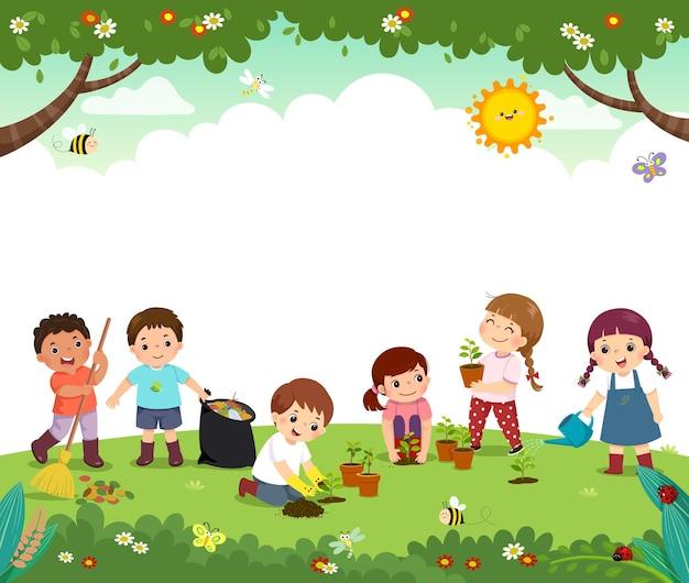 Vorlage mit cartoon von freiwilligen für kinder, die bäume im park pflanzen. glückliche kinder arbeiten zusammen, um die umwelt zu verbessern.