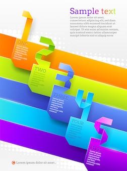 Vorlage mit farbigen papier nummerierten bannern