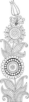 Vorlage mit floralen motiven. seitenhintergrund für einladungen, menüs, notizbücher, bücher. hintergrund im stil der doodle-linie. malbuch. vektor-illustration. abstrakte kunst