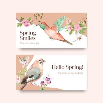 Vorlage mit frühlings- und vogelkonzeptentwurf für soziale medien- und gemeinschaftsaquarellillustration