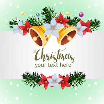 Vorlage mit glockendekoration weihnachten