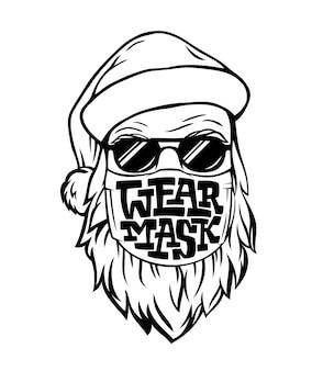 Vorlage mit hand gezeichneten weihnachtsmann in der medizinischen maske