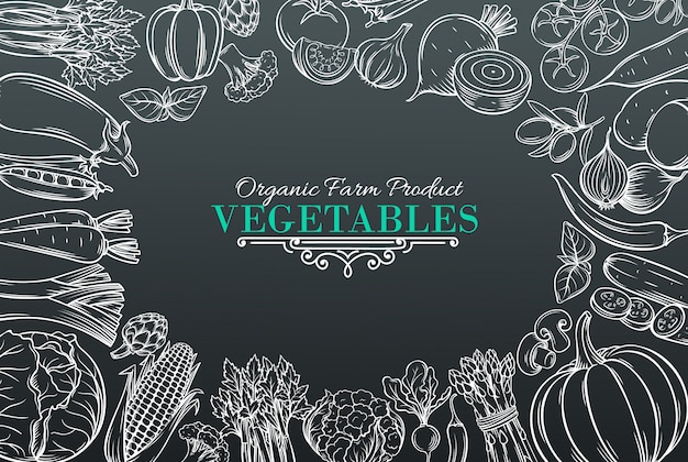 Vorlage mit handgezeichnetem gemüse