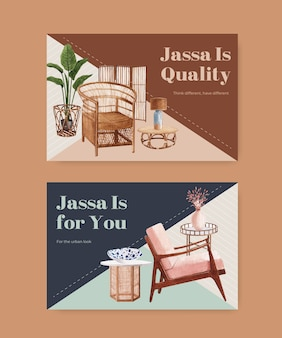 Vorlage mit jassa möbelkonzeptentwurf für soziale medien und online-marketing-aquarellvektorillustration