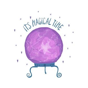 Vorlage mit lila magischer kugel für weissagung und schriftzug es ist magische zeit isoliert auf weißem hintergrund. illustration für die gestaltung einer postkarte, eines flyers, eines banners. vektor