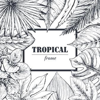 Vorlage mit rahmen von hand gezeichneten tropischen palmblättern, dschungelpflanzen.