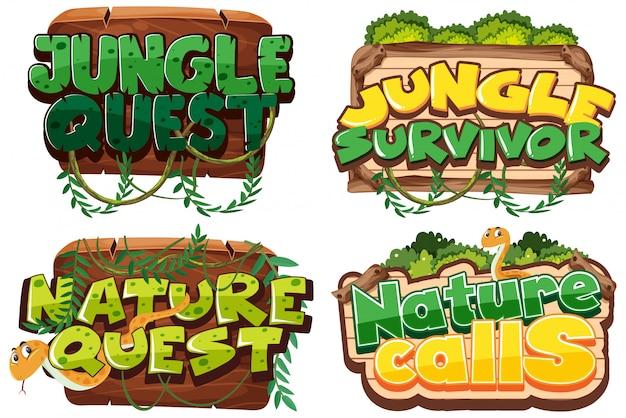 Vorlage mit vier zeichen mit naturthema