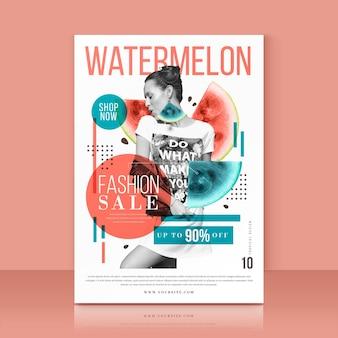Vorlage mit wassermelonen-verkaufsangebot
