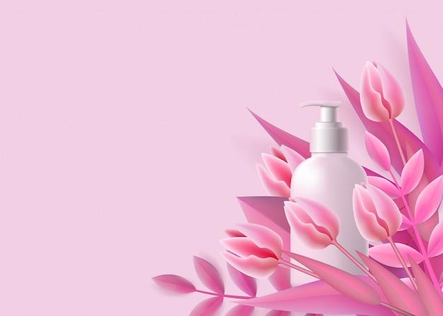 Vorlage mit weißer spenderflasche und realistischem stil der rosa blumen