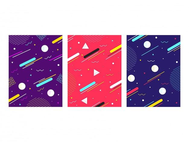 Vorlage oder flyer, abdeckung mit geometrischen abstrakten elementen in drei farbvarianten.