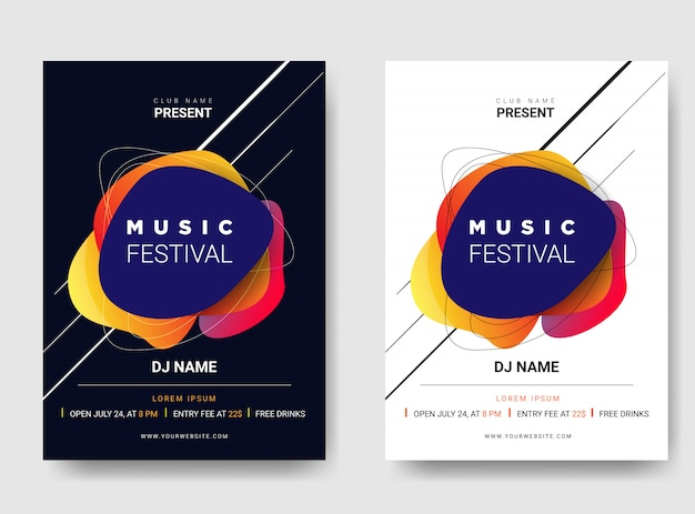 Vorlage poster / flyer musikfestival. mit farbverlaufskombination.