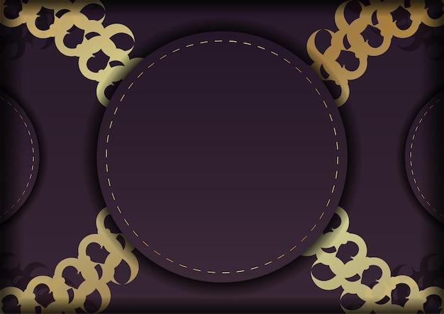 Vorlage postkarte burgunder farbe mit mandala gold muster für ihre marke.