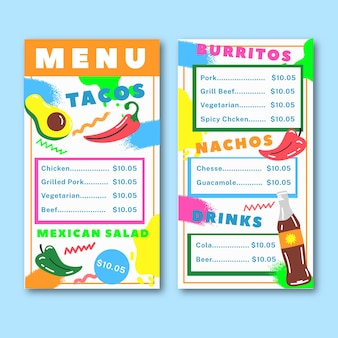 Vorlage restaurant bunte speisekarte