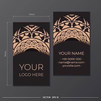 Vorlage schwarz vorzeigbare visitenkarten. dekorative visitenkartenverzierungen, orientalisches muster, illustration.