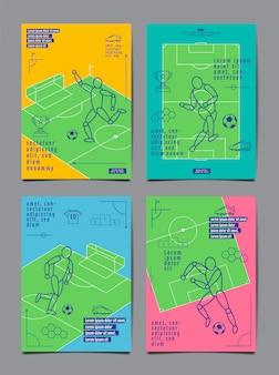 Vorlage sport layout design, flaches design, einzeilig, grafische darstellung, fußball, fußball