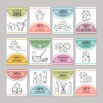 Vorlage verschiedener karten für spa-salon oder kosmetikzentrum. spa- und schönheitssalonkarte. illustration