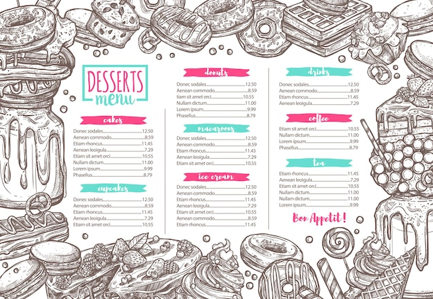 Vorlage von dessert, süßigkeiten, bäckerei und süßigkeiten menü, skizze hand gezeichnete illustration