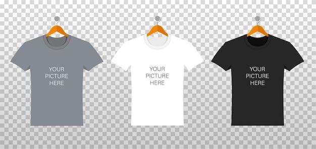 Vorlage von t-shirts mit platz für ihr design in einem flachen stil. kleidung in der vorderseite lokalisiert auf transparentem hintergrund. männliche und weibliche schablone des weißen, schwarzen, grauen hemdes.