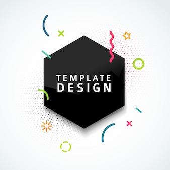 Vorlage web-banner mit schwarzer geometrischer form und partikel im modernen stil. sechseckfigur mit abstraktem dekorationselement für geschäftspräsentation. . Premium Vektoren