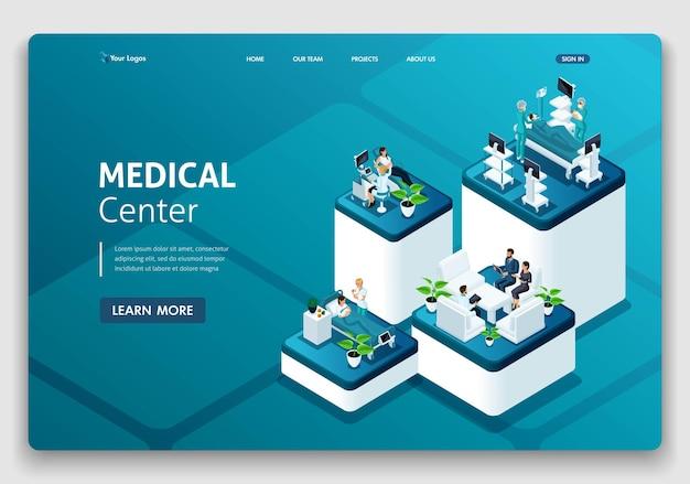 Vorlage website landing page isometrisches konzept der krankenhausarbeit, entbindungsstation, arbeit mit patienten, ärzten und chirurgen. einfach zu bearbeiten und anzupassen.