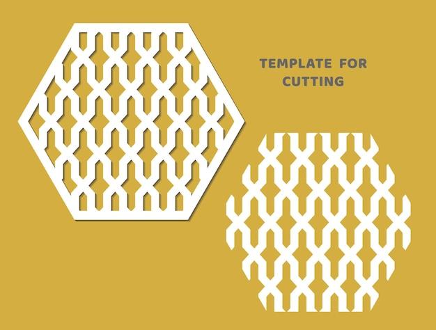 Vorlage zum laserschneiden, holzschnitzen, papierschnitt. pentagon-muster zum schneiden. dekorative panel-vektor-schablone.
