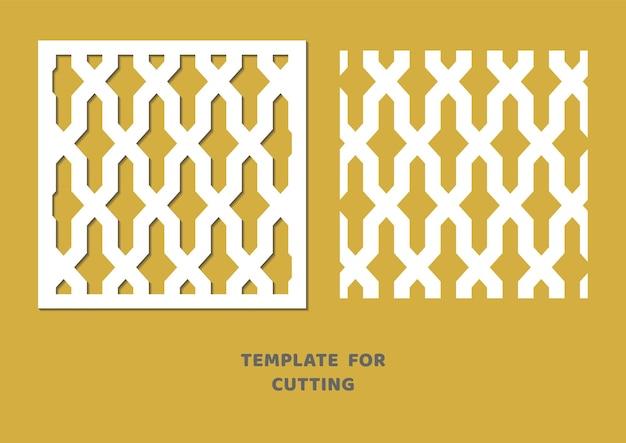 Vorlage zum laserschneiden, holzschnitzen, papierschnitt. quadratisches muster zum schneiden. dekorative panel-vektor-schablone.