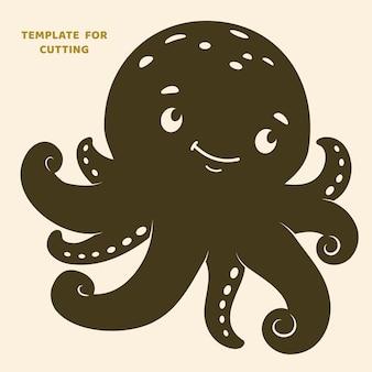 Vorlage zum laserschneiden, holzschnitzen, papierschnitt. silhouetten zum schneiden. octopus-vektorschablone.