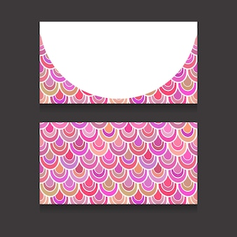Vorlage zweiseitiger visitenkarten mit rosa fischschuppen und platz für text