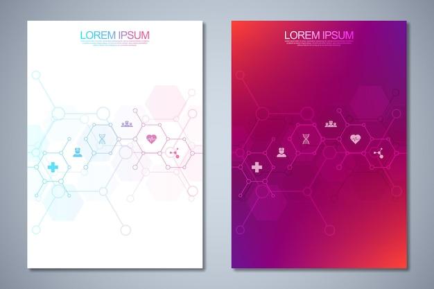 Vorlagen decken design mit medizinischen symbolen ab.
