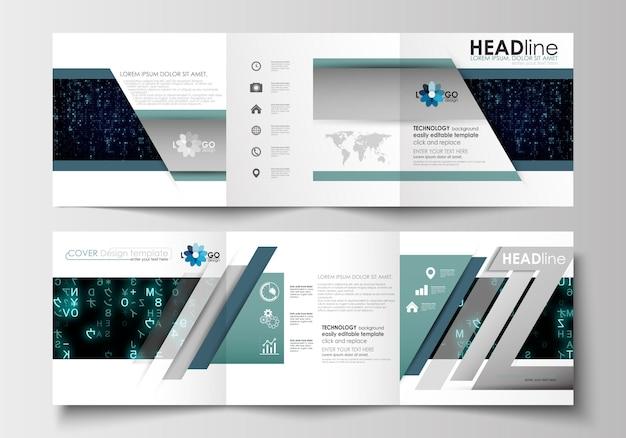 Vorlagen für dreifachgefaltete broschüren. prospektabdeckung, abstraktes layout. virtuelle realität.