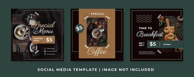 Vorlagen für instagram-posts für kaffee- oder café-werbung