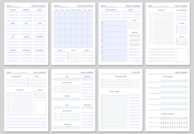 Vorlagen für minimalistische planerseiten.