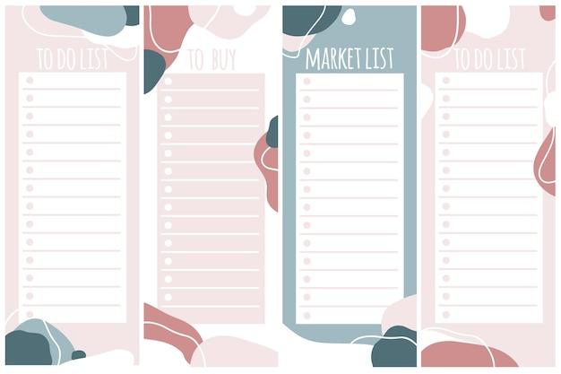 Vorlagen für notizen, aufgaben- und kauflisten. organisator, planer, zeitplan für ihr design. abstrakter hintergrund im trendigen modernen handgezeichneten stil. pastellpalette.