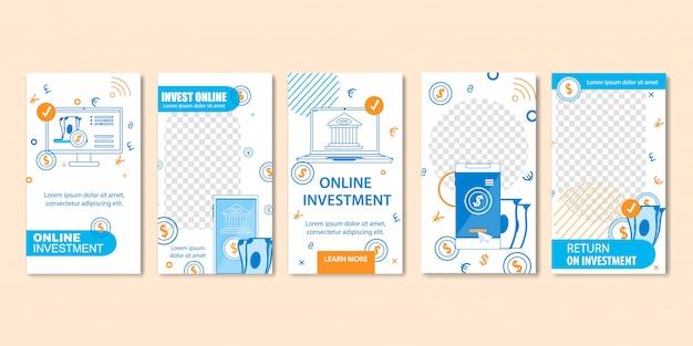 Vorlagen für online-investitionen und virtuelle finanzen.